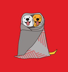Happy dogs in a blanket vector