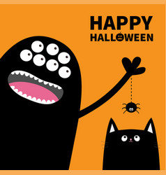 Happy halloween pumpkin text black monster many vector