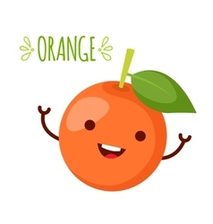 happy orange waving its hands vector image