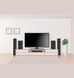 home theatre tv set system in interior big modern vector image