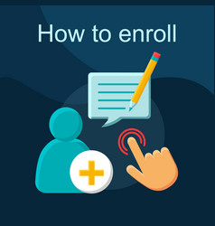 How to enroll flat concept icon vector