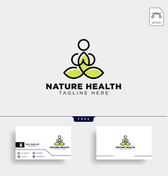 human yoga and leaf logo template icon element vector image