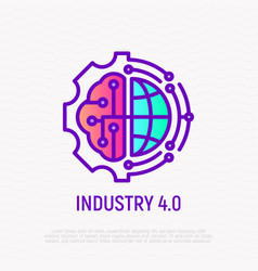 Industry 40 thin line icon industrial internet vector