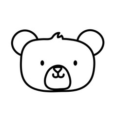 Kids toy cute teddy bear head icon thick line vector