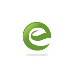 letter e leaf logo vector image