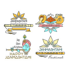 line logo icons set for krishna janmashtami vector image