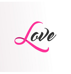 Love pink ribbon text for breast cancer awareness vector