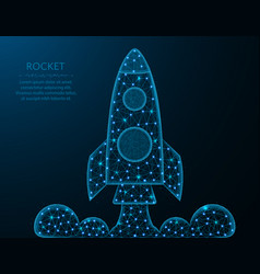 Low poly rocket design shuttle launch in vector