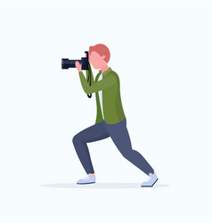 man professional photographer taking photo with vector image