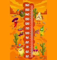 mexican food characters on kids height chart vector image