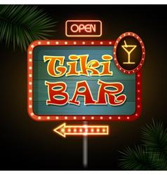Neon sign Tiki bar vector