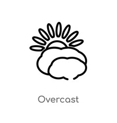 Outline overcast icon isolated black simple line vector