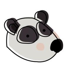 Panda cartoon head in watercolor silhouette vector