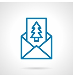 Pine postcard simple line icon vector image