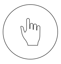 pointing hand icon black color in circle vector image