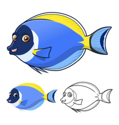 Powder blue surgeon fish vector