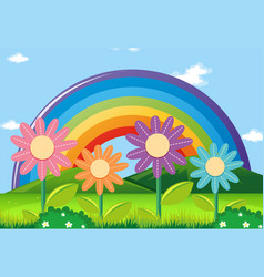 Rainbow and flowers in garden vector