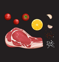 Raw marbled meat fillet portion to cook vector
