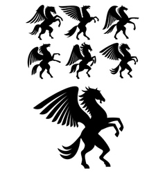 Rearing winged pegasus black horses vector