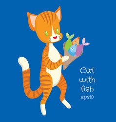 red cat carry fish in the package vector image