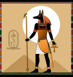 Religion ancient egypt god anubis vector