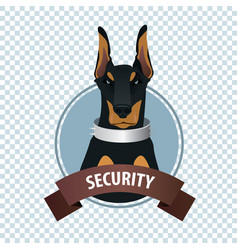 Round icon with doberman pinscher vector
