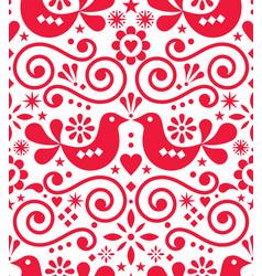 scandinavian floral folk seamless design vector image