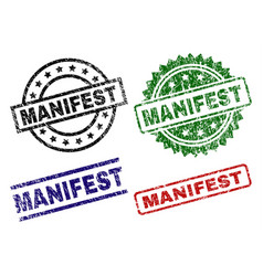 Scratched textured manifest seal stamps vector