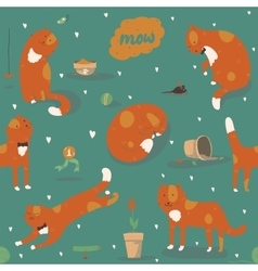 Seamless pattern with kind funky ginger cats fun vector image