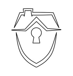 Security shield home vector