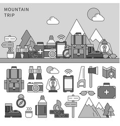 Set for mountain trip line monochrome vector