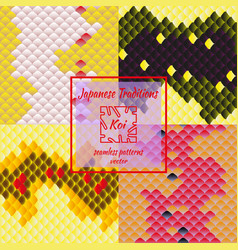 set of fashionable traditional japanese patterns vector image