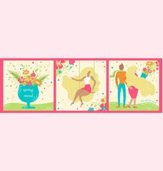 set of hand-drawn spring postcards springtime vector image