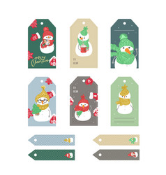 set of merry christmas and new year gift tags vector image