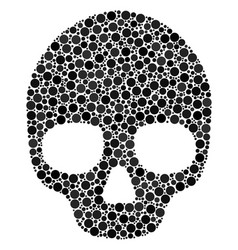 Skull collage of filled circles vector