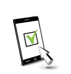 Smart phone and checkbox vector