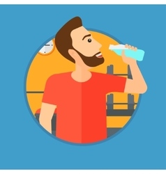 Sportive man drinking water vector
