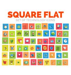 square flat technology web icon set vector image