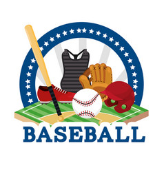 Sticker baseball sport game with equipment vector