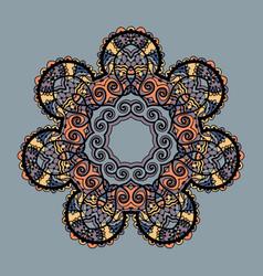 Stylized mandala round ornamental pattern over vector