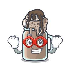 Super hero milkshake character cartoon style vector