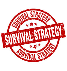 Survival strategy round red grunge stamp vector