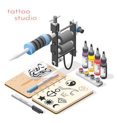 tattoo studio isometric background vector image