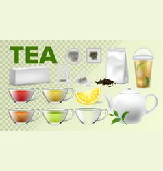 tea cups and pot kitchenware realistic set vector image