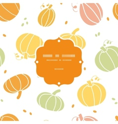 Thanksgiving colorful pumpkins silhouettes frame vector