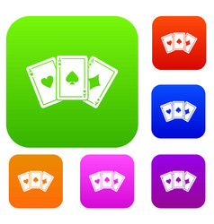three aces playing cards set collection vector image