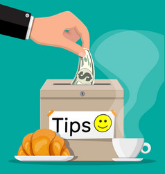 Tip box full cash cup coffee with croissant vector