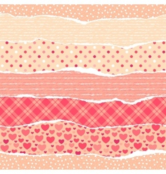 torn wrapping paper with hearts vector image