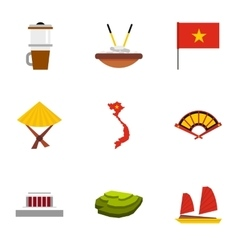 Tourism in Vietnam icons set flat style vector