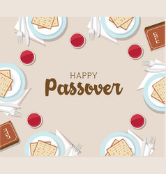traditional passover table with passover plate and vector image